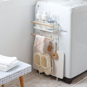 洗濯機横マグネット収納ラック トスカ ホワイト 珪藻土バスマットスタンド付き|kanaemina