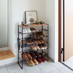 シューズラック 靴箱 下駄箱 玄関収納 靴収納棚 タワー 6段 スリム ブラック 幅66 奥行25 高さ87cm|kanaemina