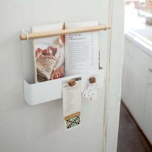 冷蔵庫横サイドホルダー マグネット式 レシピラック キッチン収納 トスカ 白 ホワイト|kanaemina