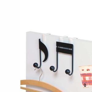 ドア用フック ハンガー掛け 扉用 ペアフック 音符型 吊り下げ収納|kanaemina