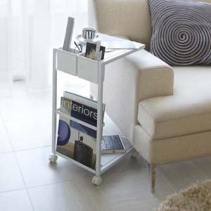 サイドテーブルワゴン ナイトテーブル ソファー ベッド 横 キャスター付き タワー ホワイト|kanaemina