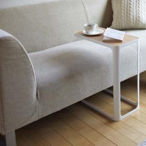 木製天板 サイドテーブル ナイトテーブル 白 ホワイト ソファーサイド ベッド横|kanaemina