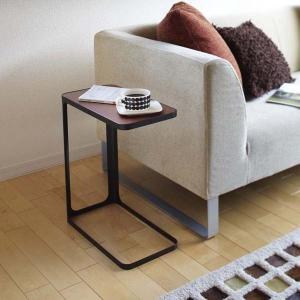 木製天板 サイドテーブル ナイトテーブル 黒 ブラック ソファーサイド ベッド横|kanaemina