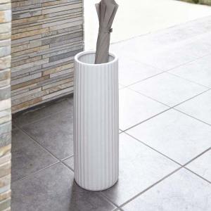 傘立て かさたて 玄関収納 陶器 白 おしゃれ スリムストライプ ホワイト|kanaemina