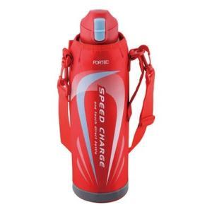 水筒 直飲み 保冷 スポーツ 大容量 ワンタッチ ステンレスボトル 1.45L カバー付き レッド|kanaemina