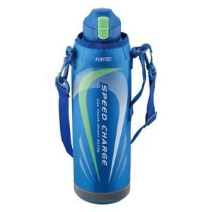 水筒 直飲み 保冷 スポーツ 大容量 ワンタッチ ステンレスボトル 1.45L カバー付き ブルー|kanaemina