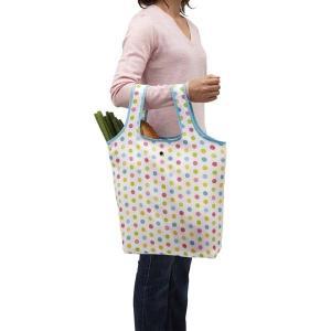 お買い物バッグ 買い物バック 折り畳み 買い物袋 エコバッグ 手提げ トートバッグ カラフルドット|kanaemina