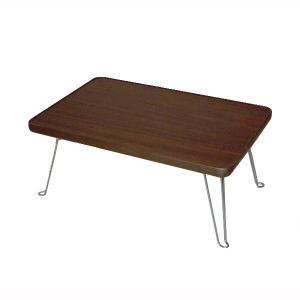 ミニテーブル 折りたたみ 折り畳み 折れ脚 折れ足テーブル 幅45cm ブラウン|kanaemina