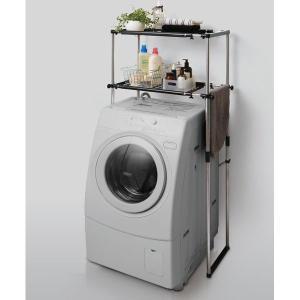 洗濯機ラック 収納棚 ステンレス ブラック|kanaemina