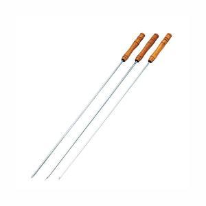 バーベキュー金串 串焼き用 鉄串 木製柄付き BBQ串 440mm 3本セット