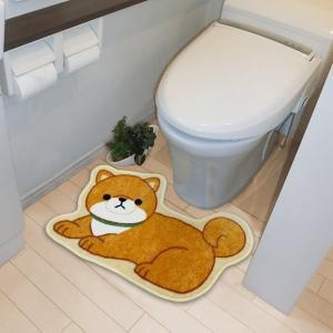 トイレ用マット 足元マット 滑り止め加工付き 豆柴犬 まめしば 犬 イヌ いぬ|kanaemina