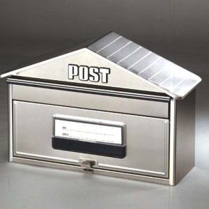 ポスト 郵便受け 本体のみ 壁掛け/スタンドポール対応 ハウス型 ヘアライン(ポール別売り) kanaemina