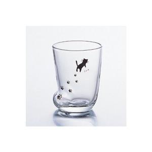 コップグラス タンブラーグラス ガラス製 足跡グラス ねこ S 230ml 3個セット|kanaemina