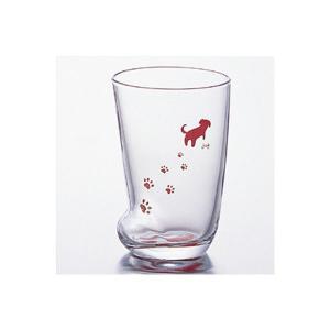 コップグラス タンブラーグラス ガラス製 足跡グラス いぬ M 300ml 3個セット|kanaemina