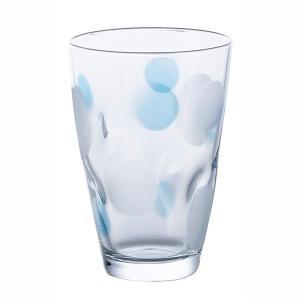 グラス コップ 麦茶コップ 水玉グラス ブルー ガラス製 タンブラー 300ml 3個セット 日本製|kanaemina