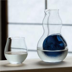 徳利 瓢徳利 単品 氷ポケット付き ひょうたん型 ブルーブラック 370ml 日本酒 冷酒用 カラフェ|kanaemina