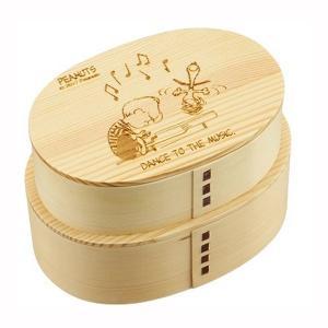 曲げわっぱ 弁当箱 二段 2段 スヌーピー 天然木 杉材 仕切り付き お弁当箱 ランチボックス|kanaemina