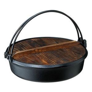 すき焼き鍋 すきやき鍋 鉄鋳物製 鉄鍋 木製フタ付き 蓋付き 26cm 直火 IH対応|kanaemina