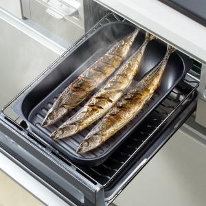 グリル名人 魚焼きグリルパン さんま焼きグリルプレート 魚焼き器 オーブン ガス火 IH対応|kanaemina