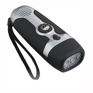 ラジオライト ダイナモLED 懐中電灯 ハンディライト ワイドFM サイレン機能 USB出力用ケーブル付き|kanaemina