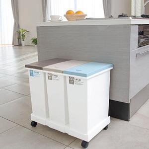 ゴミ箱 分別資源3分別ごみ箱 タッチオープン式 横型ワゴン キャスター付き ダストボックス スリム kanaemina