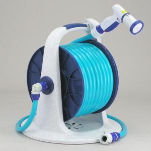 散水用ホースリールセット 30m巻 スーパー耐圧ホース 蛇口ホース接続具ノズル一式セット 日本製|kanaemina