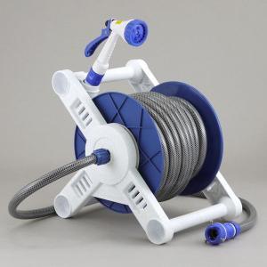 散水用ホースリールセット 20m巻 耐圧ホース 蛇口ホース接続具 ノズル一式セット 日本製|kanaemina