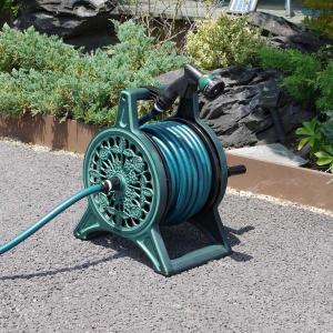 散水用ホースリールセット 20m巻 グリーン アルミ鋳物フレーム 蛇口接続具ノズル一式セット 日本製|kanaemina
