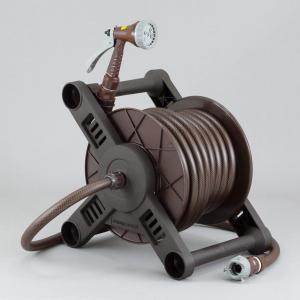 ホースリール 20m おしゃれ ブラウン 6水流ノズル 耐圧ホース 蛇口接続プラグセット 日本製|kanaemina