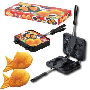 たい焼き機 家庭用 鯛焼き器 直火 ガス火専用 2枚焼き フライパン フッ素加工 Siセンサー不可|kanaemina