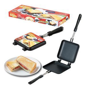 ホットサンドメーカー 直火 ガス火専用 フライパン トースター フッ素加工 Siセンサー不可|kanaemina