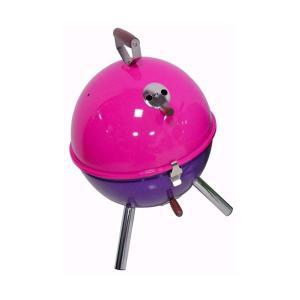 バーベキューコンロ バケットタイプ 蒸し焼き 燻製 スモーカー ピンク×パープル|kanaemina