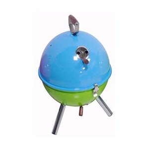 バーベキューコンロ バケットタイプ 蒸し焼き 燻製 スモーカー ブルー×グリーン|kanaemina