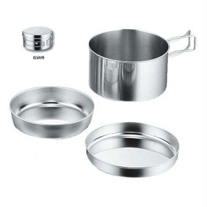アウトドア食器 片手鍋 登山 キャンピング食器 3点セット ステンレス製|kanaemina