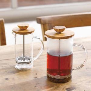 ティーポット プレス式抽出 紅茶 ハーブティ ガラス製 ウッド ハリオ 300ml 2杯用|kanaemina