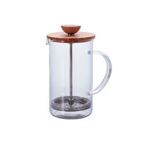 ティーポット プレス式抽出 紅茶 ハーブティ ガラス製 ウッド ハリオ 600ml 4杯用|kanaemina
