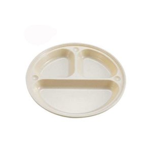 トリオプレート 食器皿 仕切り付き プラスチック アウトドア 耐熱120度 抗菌 21cm 5個セット|kanaemina