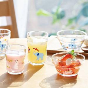 コップ つよいこグラス 割れにくいガラスコップ Mサイズ ぞう うさぎ 子供用 キッズ用|kanaemina