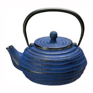 鉄瓶 急須 鉄びん やかん 茶器 直火 波地/ブルーベリー 0.8L|kanaemina