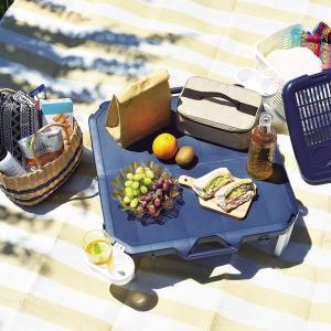 ピクニックテーブル アウトドアテーブル 折りたたみ 正方形 63×63cm 軽量 コンパクト レジャー 日本製|kanaemina