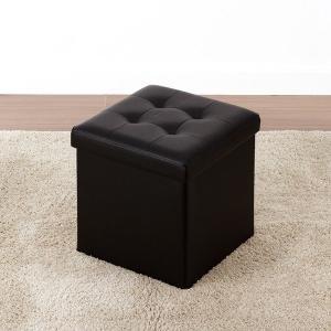 収納付きスツール コンパクト ボックスチェアー 正方形 PVCレザー 折りたたみ オットマン 椅子 ベンチ|kanaemina