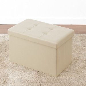 収納付きスツール コンパクト ボックスチェアー 長方形 ワイド PVCレザー 折りたたみ オットマン 椅子 ベンチ|kanaemina