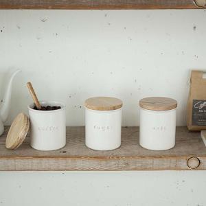 陶器製キャニスター ソルト シュガーポット コーヒー豆 保存容器 白 トスカ ホワイト ヴィンテージ加工 kanaemina