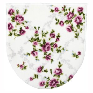 トイレの蓋カバー フタカバー 洗浄暖房型 U型 O型兼用 エメローズ バラ柄 アイボリー ピンク|kanaemina