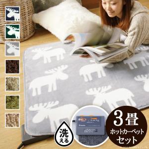 洗える ホットカーペット+カバーセット〔モリス〕3畳用(200x240)|kanaemina