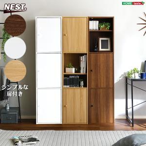 カラーボックス 収納ボックス ハイタイプ 3扉付き 6段 縦置き 横置き 本棚 書棚 CD DVD 収納棚|kanaemina