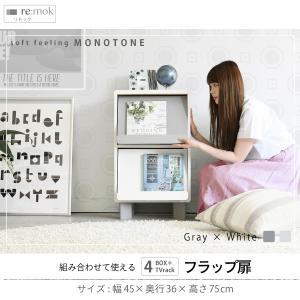 マガジンラック ディスプレイ フラップ扉本棚 モノトーン 幅45cm cd dvd 雑誌|kanaemina