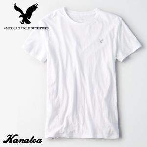 アメリカンイーグル メンズ Tシャツ 半袖 無地 AE Logo Crew Neck Slub Te...