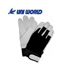 ユニワールド 皮製手袋 豚革クレスト背抜き手袋 マジック 9520|kanamono1