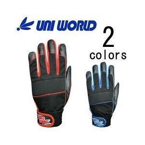 ユニワールド 合皮製手袋 MPファイバーグローブ 2610 (RED BLU)|kanamono1